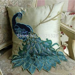 Online Shop elegant peacock embroidered pillow cover peacock cushion cover sofa pillow case home decoration|Aliexpress Mobile
