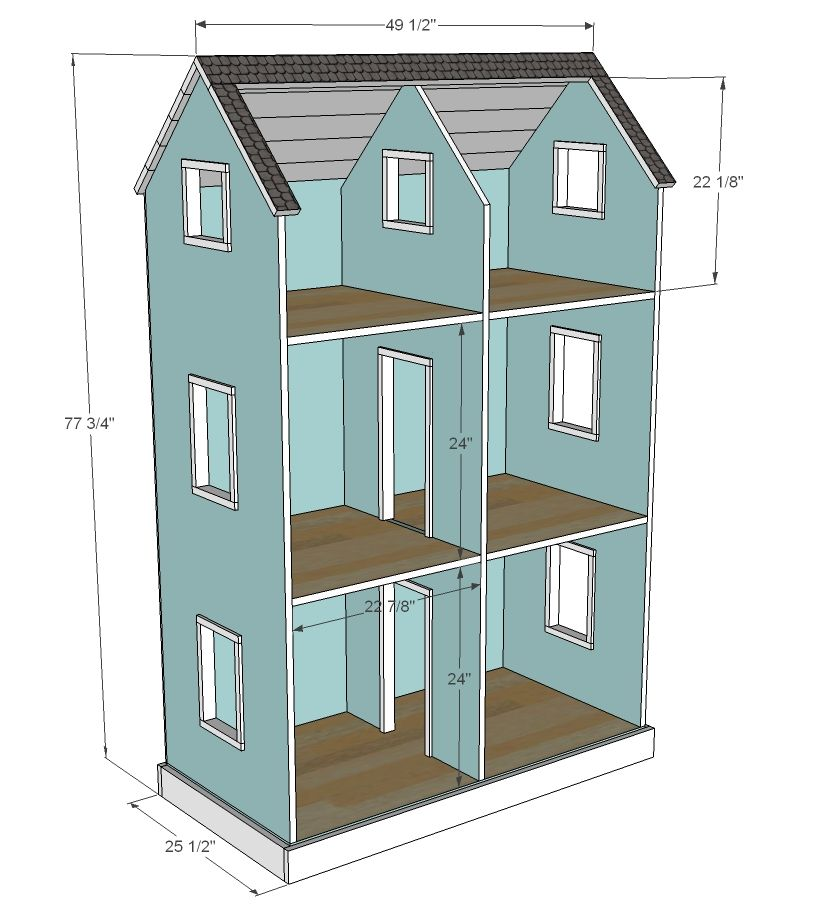 plans for dolls houses free. Ana White  Build a Three Story American Girl or 18 Dollhouse Free and Doll Clothes Closet How to make closet for Dolls