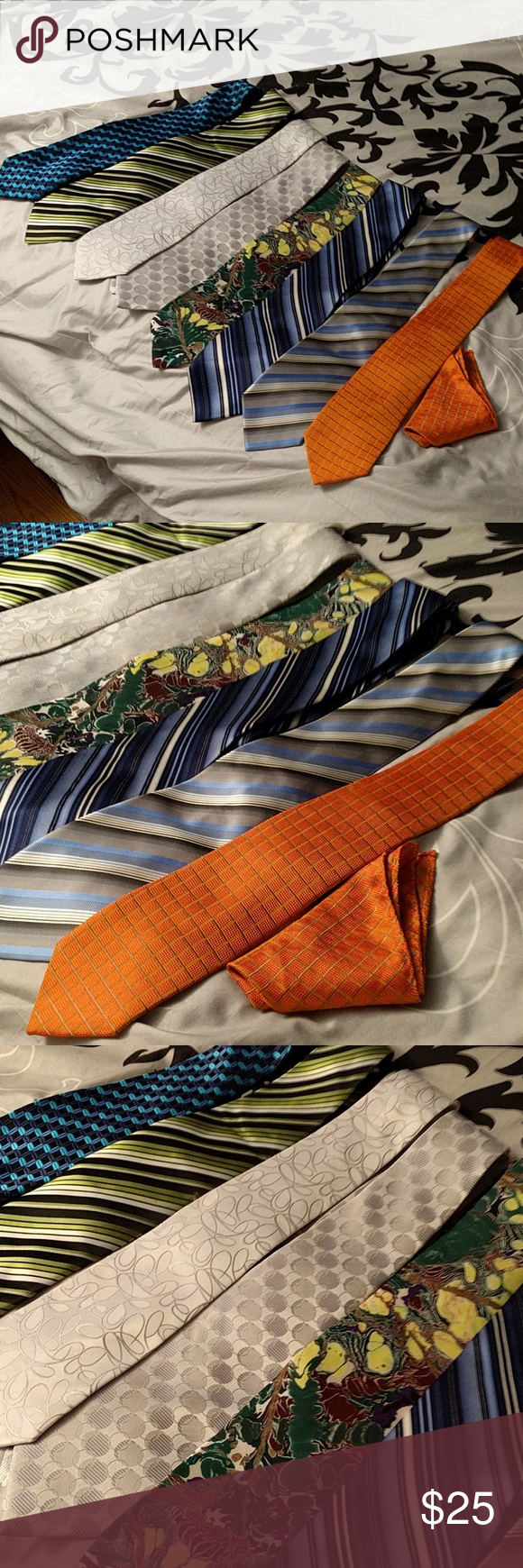Lot of 8 Mens Ties Handkerchief Set My husband has way too many ties! Turns out he had a lot of very similar ones, so we weeded a few out. Various brands. The orange one comes with a matching kerchief.  Silver, blue, black, green, striped, floral. No flaws, all very well taken care of. Can break up if you have a specific desire, but I would love to sell as a lot just for simplicity. Accessories Ties