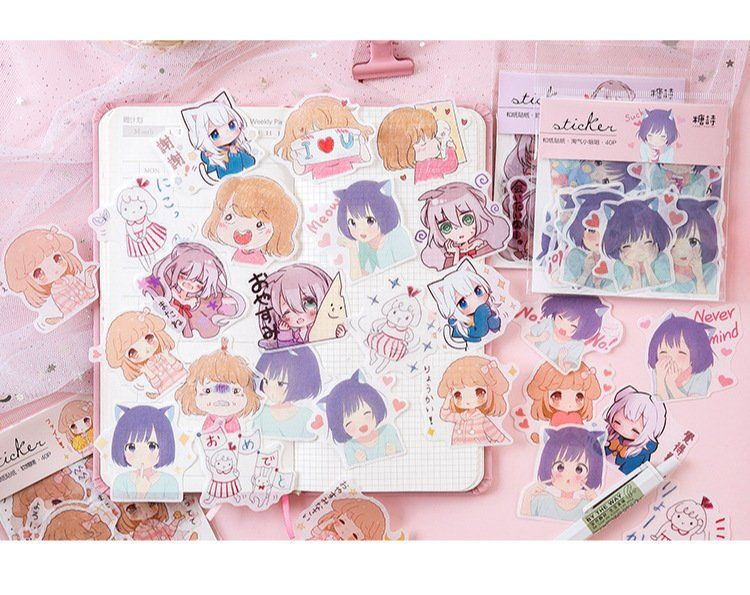 40pcs Chubi Girls Stickers Pack Anime Cute Bullet Journal Photo Album Decoration Scrapbook Journal Pla Girl Stickers Stationery Addict Planner Material