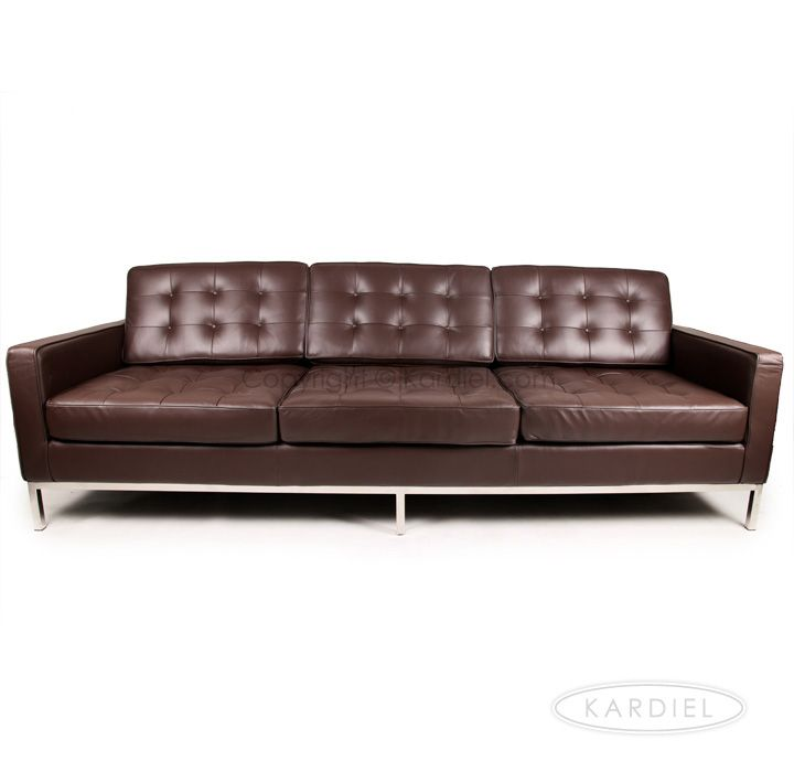 Florence Knoll Sofa Settee Reproduction Style 3 Seater Brown |