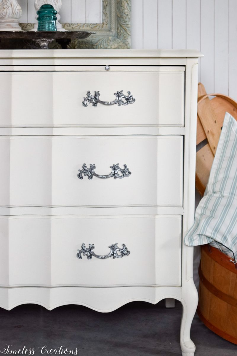 Just Look At Those Curves French Style Small Dresser Dresser Makeover White Thrift Store Furniture Makeover Diy White Painted Bedroom Furniture