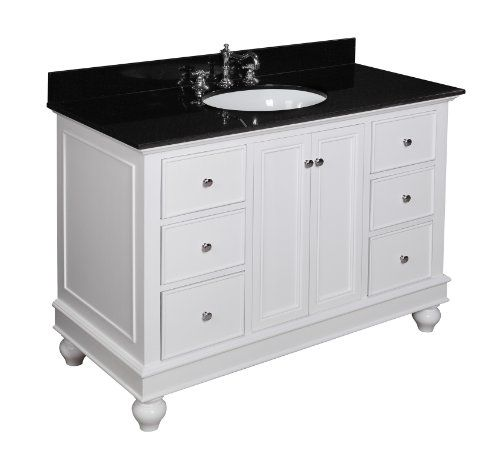 Bella 48 Inch Bathroom Vanity Black White Includes White Cabinet With Soft Clo Traditional Bathroom Vanity 48 Inch Bathroom Vanity Bathroom Vanity