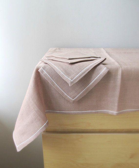 Set of Four Now Designs Hemstitch Cotton Napkins Light Taupe
