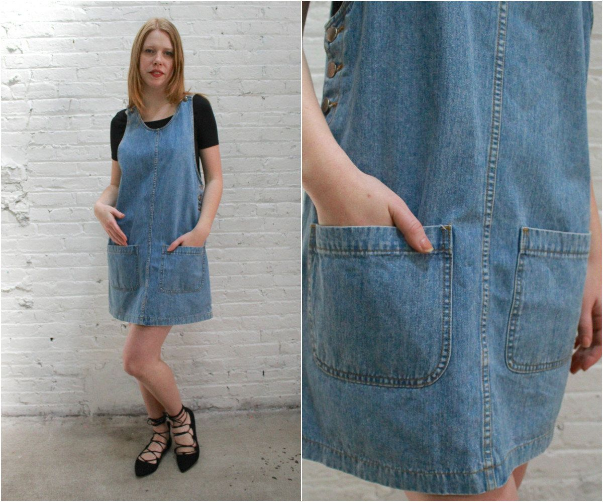e18c6eba267b2 90s denim jumper dress / overall denim dress / mini chambray jumper dress  by dustyrosevintage on Etsy