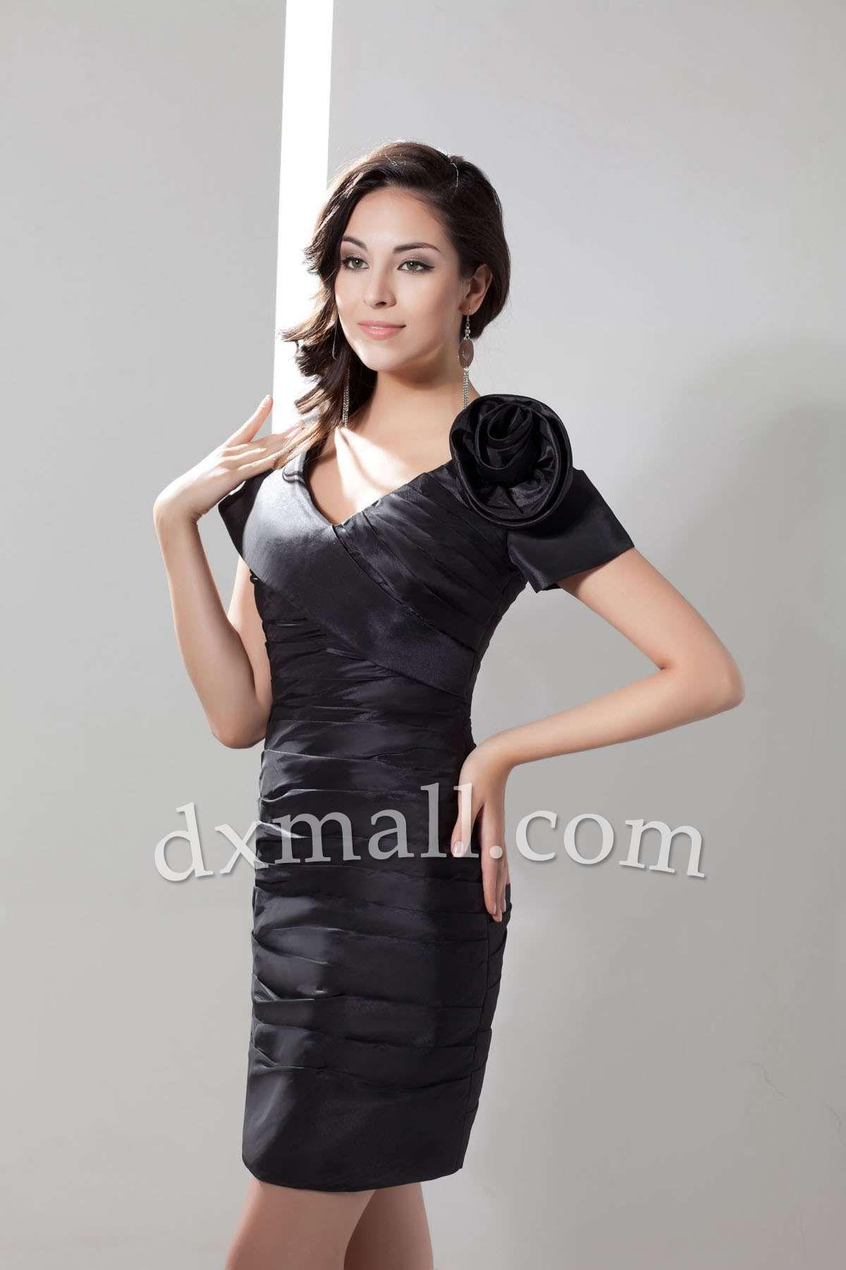 Little black dress for wedding party  Short Little Black Dresses Vneck ShortMini Taffeta Black
