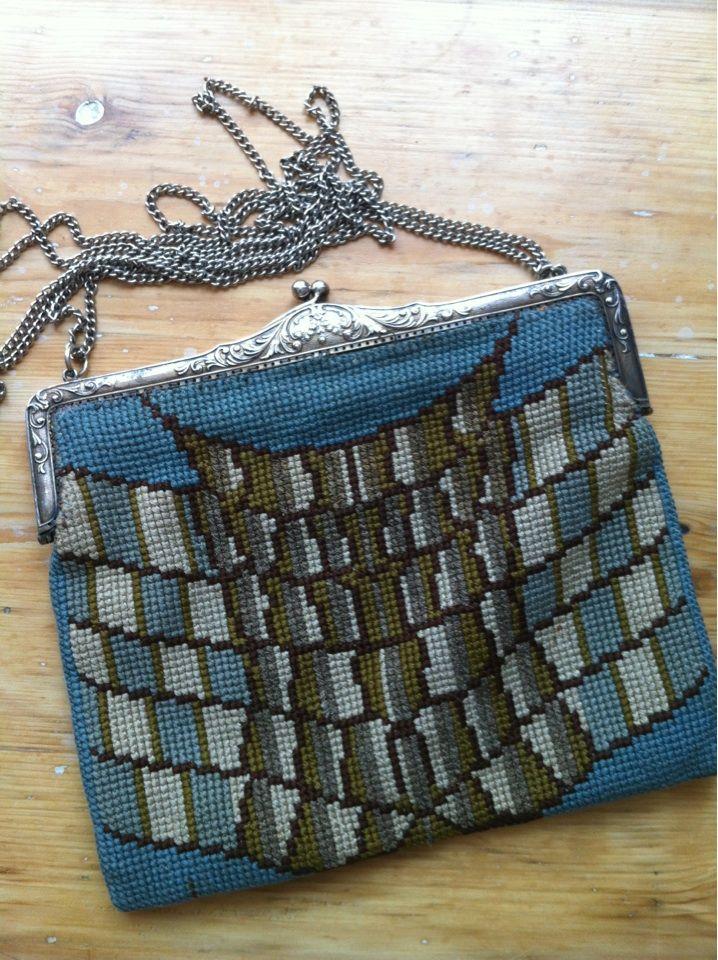 Vintage Tasche Blau Grau Braune Eng Gehäkelte Kleine Antike