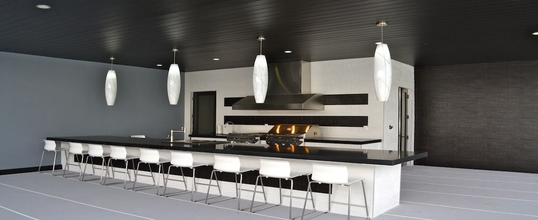 Ultra Modern Indoor Outdoor Black White Kicthen With Extra Long