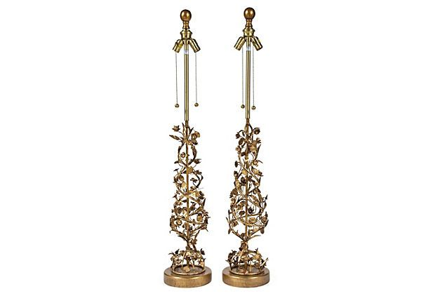 1960s Gold Leaf Marbro Tole Lamps Pair Of 1960s Marbro Tole And Gold Leaf Floral Table Lamps Mounted On Original Base With O Vintage Lighting Gold Leaf Gold