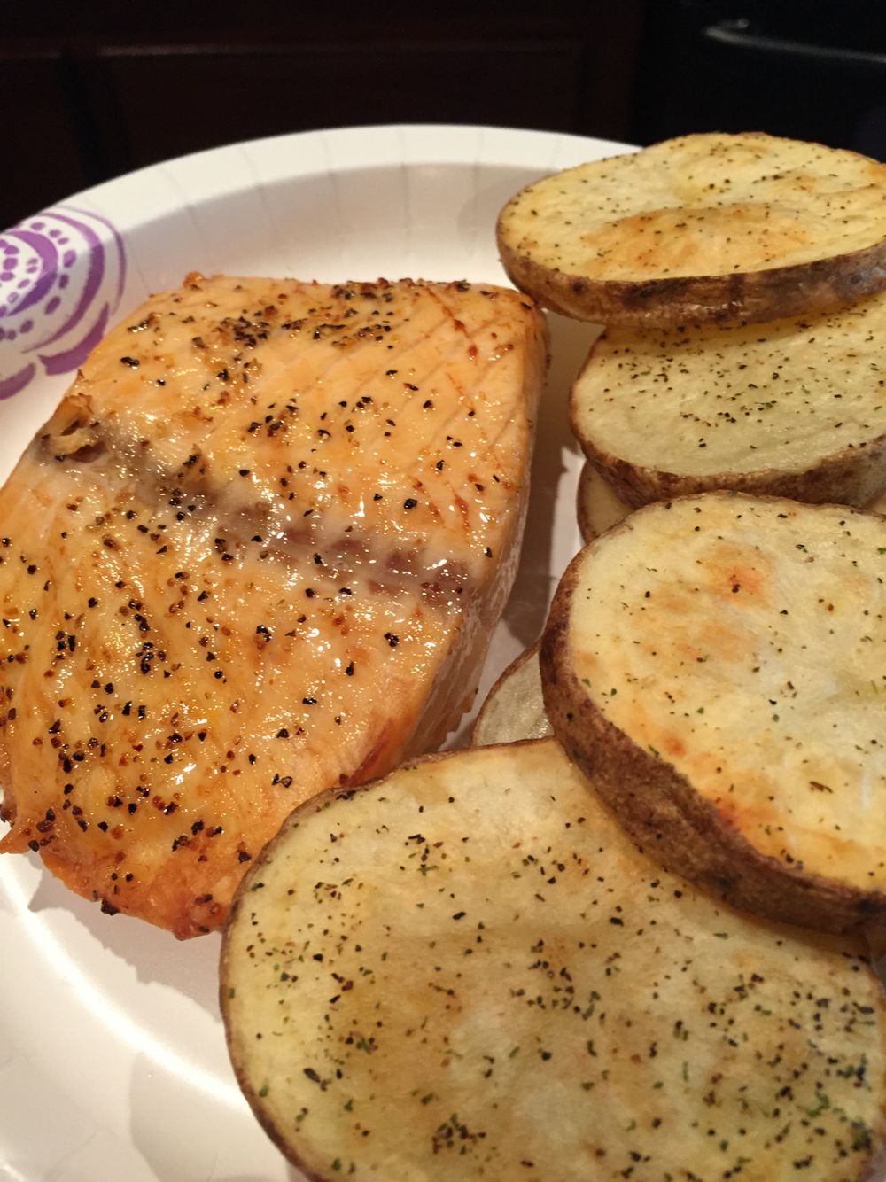 Nuwave Oven Salmon Seasoned With Lemon Pepper And Salt And Potatoes Cooked For 12 Mins On Each