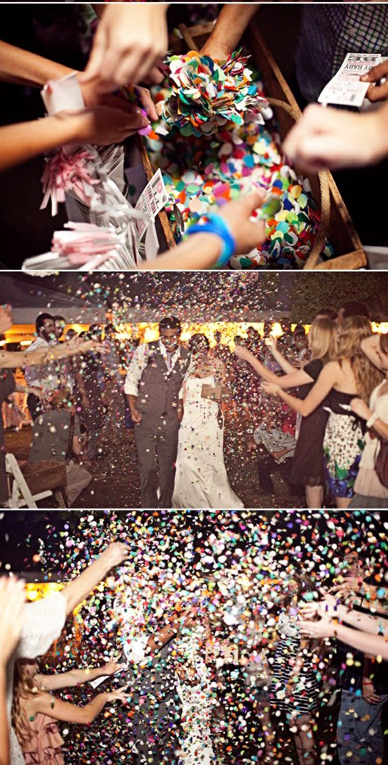 confetti over bubbles or rice or sparklers. colorful :)