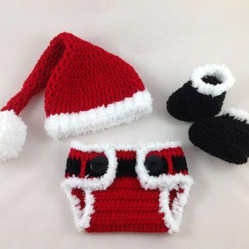 Baby Santa Outfit - Crochet Santa Hat Diaper Cover Set - Baby ...