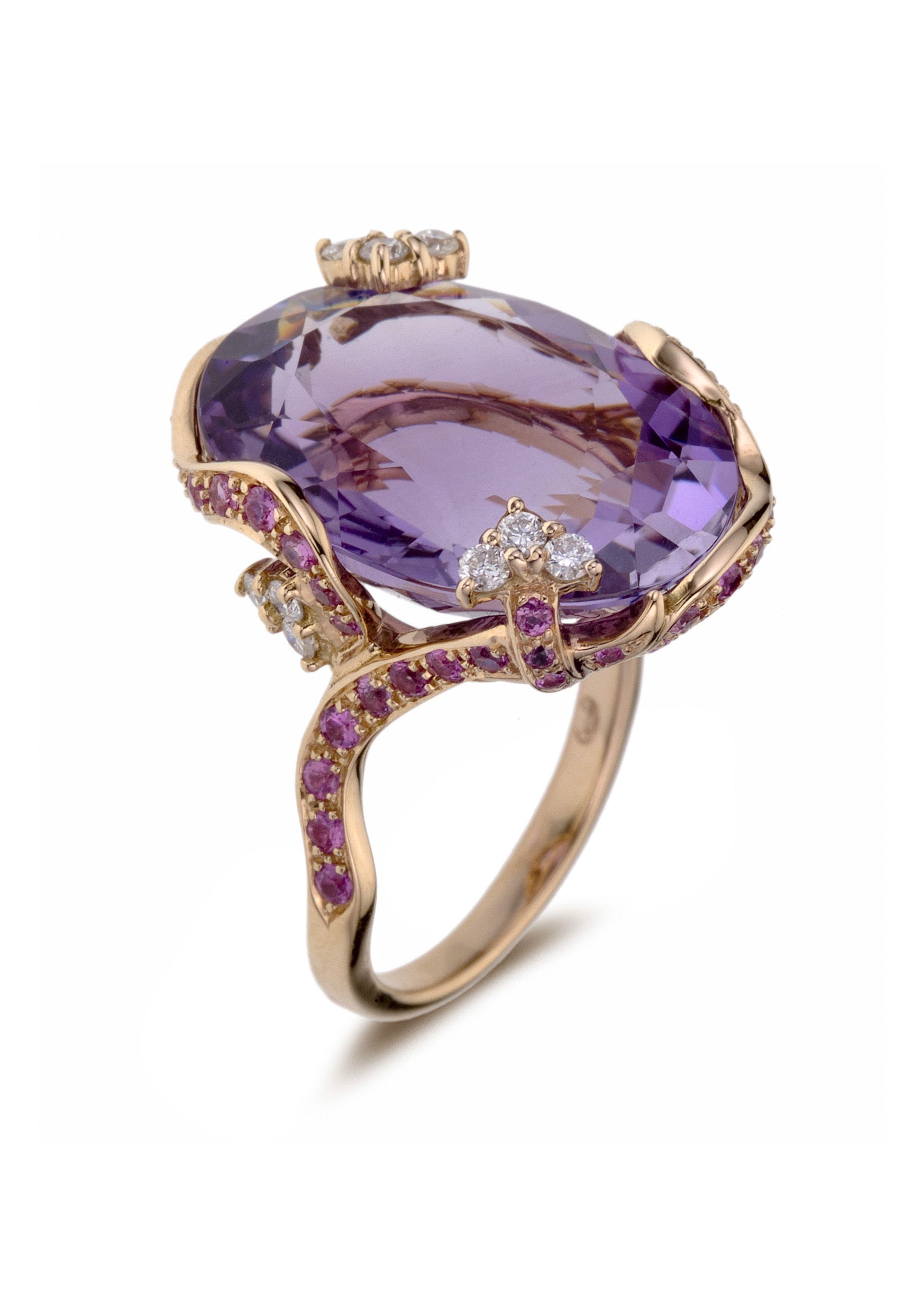 Amethyst, Pink Sapphire and Diamond Ring   Bague améthyste, saphir rose et  diamant 9500ebc2755b