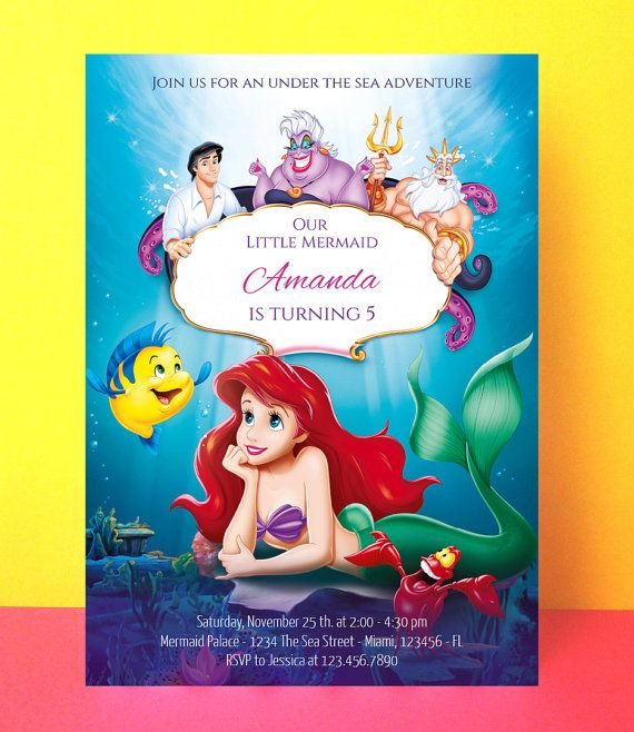 The Little Mermaid Invitation Ariel Birthday Editable Pdf Instant Download Party Disney Invite