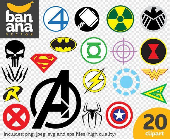 Sale Superhero Logos Clipart Png Jpg Svg Eps Files Ot Bananavector Clip Art Logo Clipart Superhero Symbols