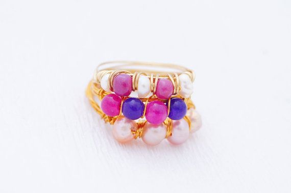 Set of three - Amethyst and Shocking Pink Ring - Toe rings - Gypsy Jewelry - boho chic - Pink and Purple ring - Stackable Ring - under 30