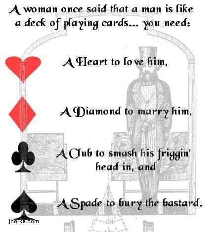 Jokes About Men Man Is Like A Deck Of Playing Cards Visual Jokes