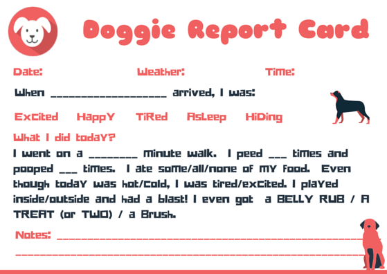 Doggie Report Card Design Petsitter Dogwalker Dog Daycare Design Dog Walking Business Dog Sitting Business