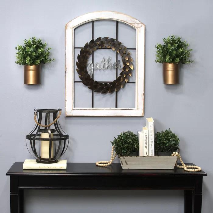 Decorative Window and Wreath Wall Decor