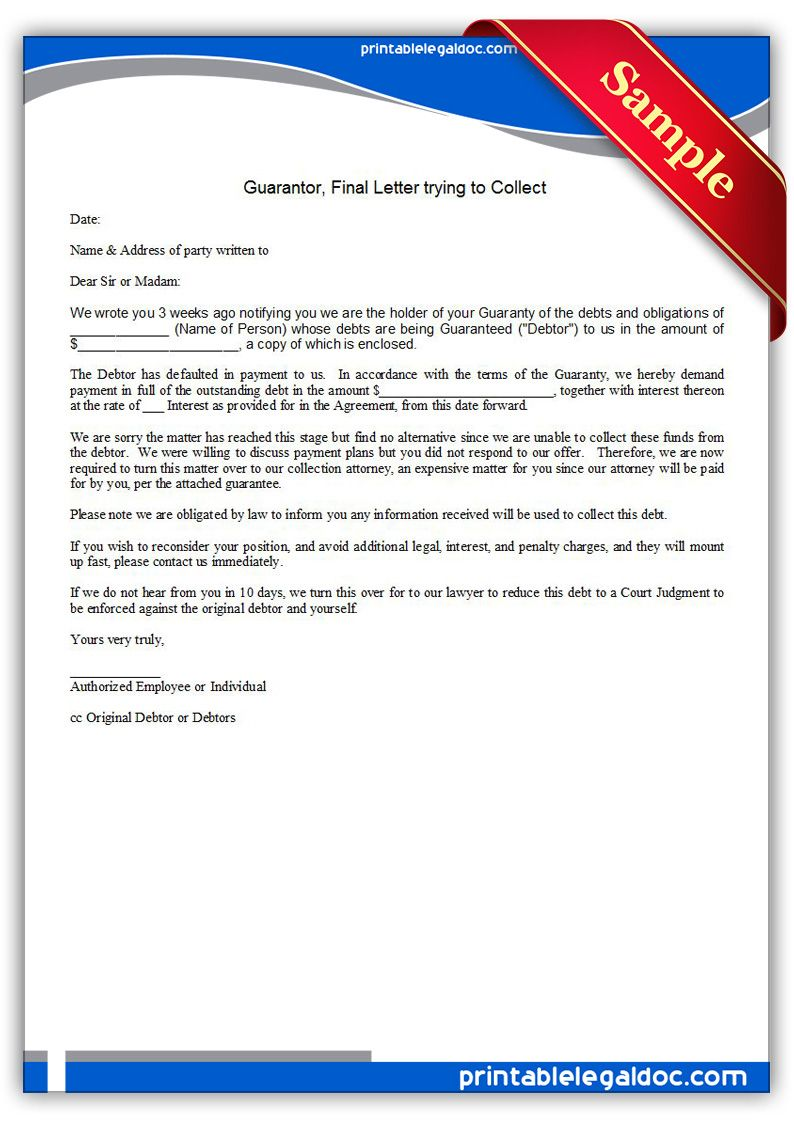 free printable guarantor final letter trying to collect sample printable legal forms