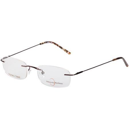 Women\'s Naturally Rimless Stainless Steel Eyeglass Frames, Brown ...