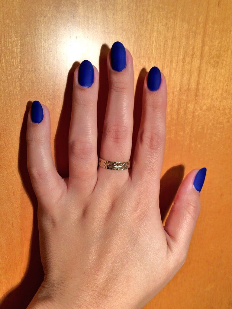 Nina Ultra Pro Cobalt / Royal Blue Nails #Almond Shape #Matte Blue ...