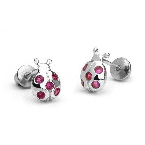 925 Sterling Silver Red Glitter Ladybug Kids Girls Stud Earrings Jewellery Gift