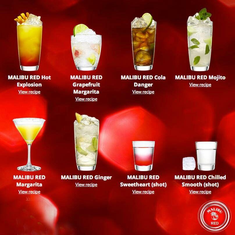 Malibu Rum Cocktails. Yummy! ! #drinks #cocktails