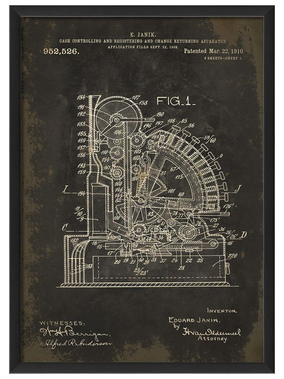 Cash Register Patent Drawing Blueprints as art Pinterest - new blueprint registry how it works