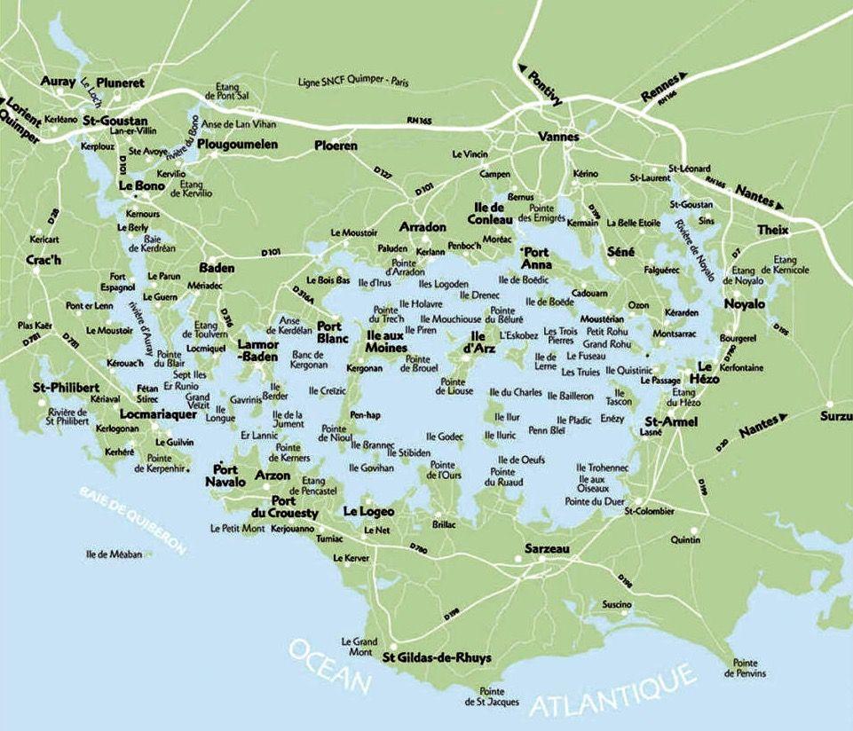 Carte Des Iles Du Golfe Du Morbihan Ile De Bretagne Golfe Du