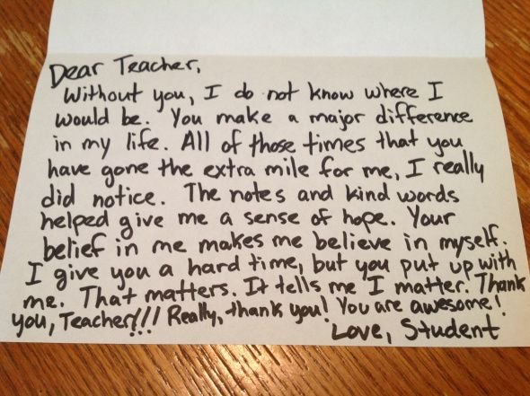 A sincere thankyou note is usually the 1 thing teachers love – Thank You Letter to Teacher