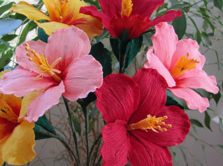 One dozen paper hibiscus paper flowers pinterest hibiscus items similar to one dozen paper hibiscus on etsy izmirmasajfo