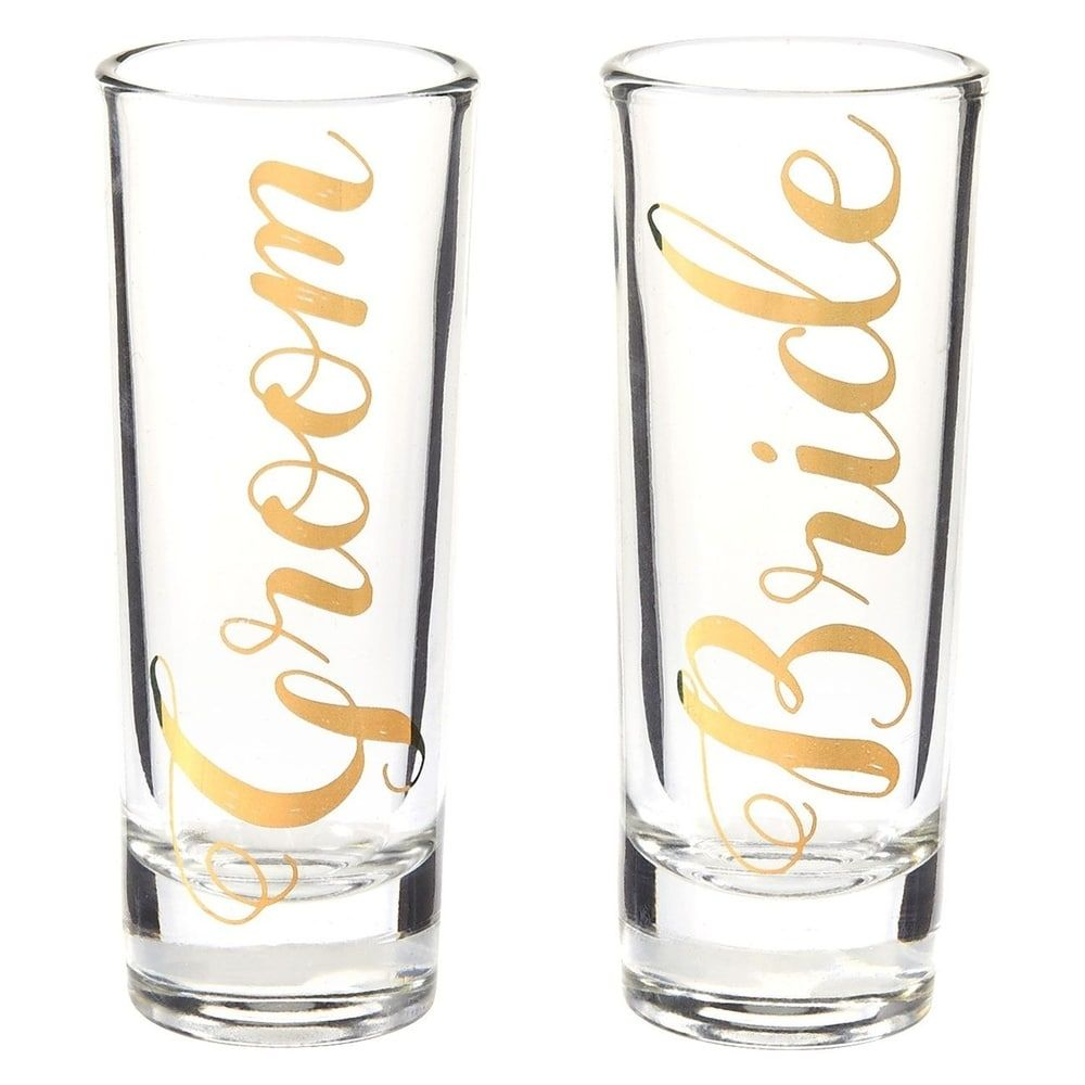Bride Groom Couple Party Shot Glasses with Gold Foil Print, Set of 2, 2oz, Clear