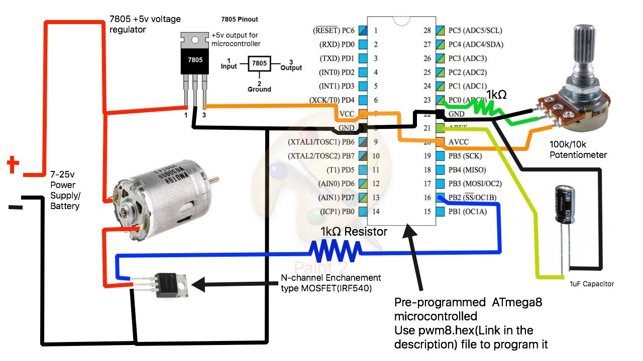 How To Build A Simple Pwm Dc Motor Speed Controller Using Atmega8 Microcontroller Mosfet And Pot Youtube Motor Speed Microcontrollers Electronic Schematics