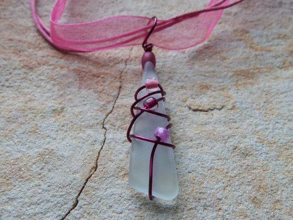 wire wrapped recycled glass pendant. Glass Pendant Wire Wrapped By UniqueChiqueJewelry, $14.00 Recycled A