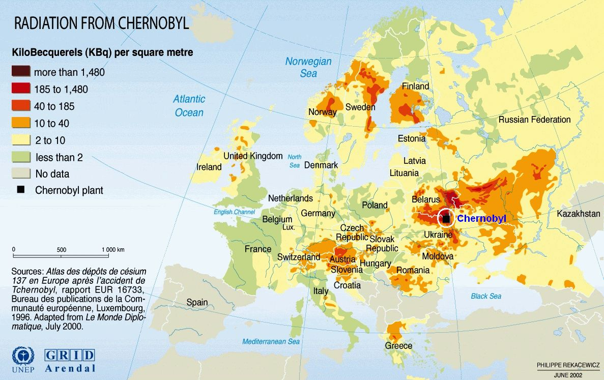 Radiation fallout map of Chernobyl disaster in 2019 ...