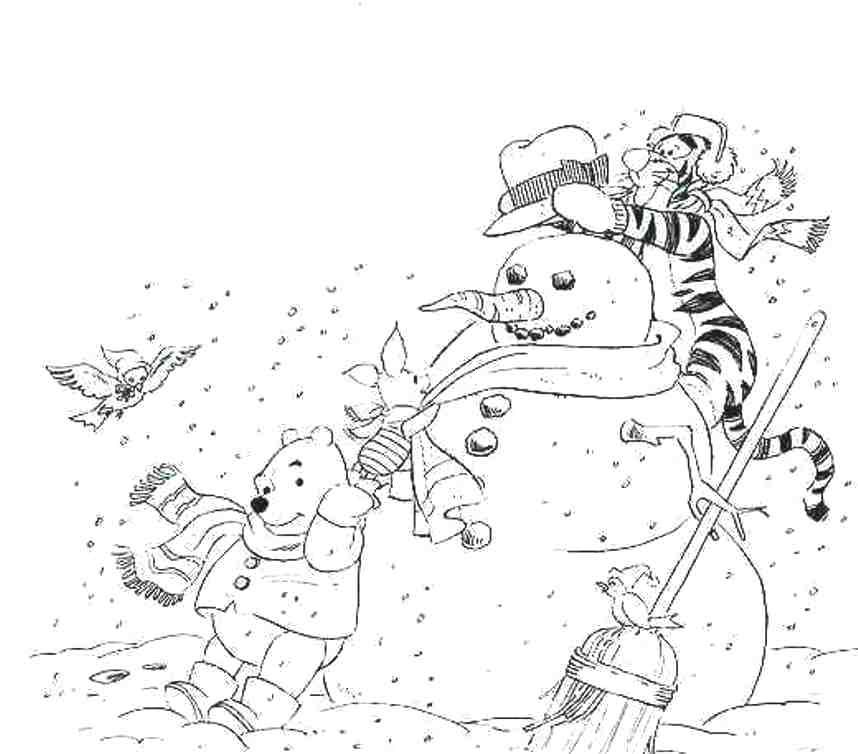 Free winter coloring pages winnie the pooh crafty for Disney winter coloring pages