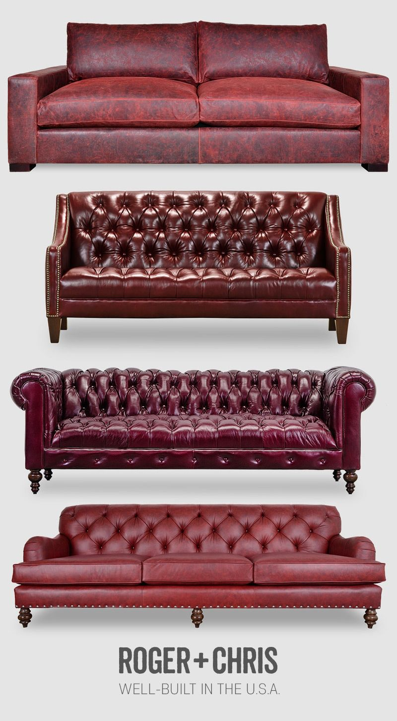 Dark Red Sofas Leather Chesterfields Couches Velvet Sofa
