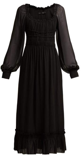 9950425f4fd2c Proenza Schouler Crepe Chiffon Square Neck Dress - Womens - Black in ...