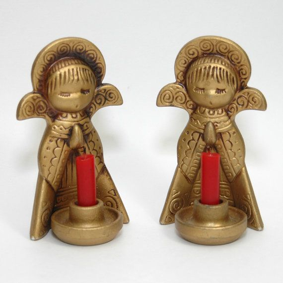Vintage 1970s Ceramic Angel Candle Holders Gold by