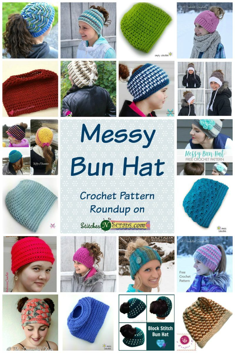 Messy Bun Hats - Crochet Pattern roundup on StitchesNScraps.com 00e4626d5b5