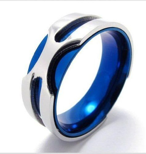 4d3ea592046585 Amazon.com: K Mega Jewelry Stainless Steel Silver Blue Cool Mens Ring 8 9  10 11 12 13: Jewelry