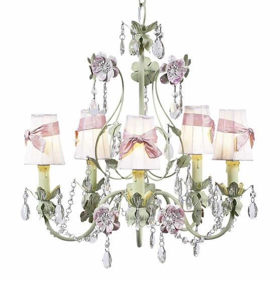 Flower garden pink and green nursery chandelier at jack and jill flower garden pink and green nursery chandelier at jack and jill boutique aloadofball Choice Image