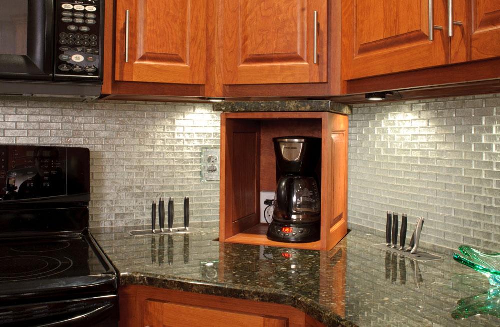 Hidden Kitchen Storage Utility Hidden From Kitchen Counter Lift Nexus 21 In 2021 Kitchen Counter Storage Hidden Kitchen Tv In Kitchen