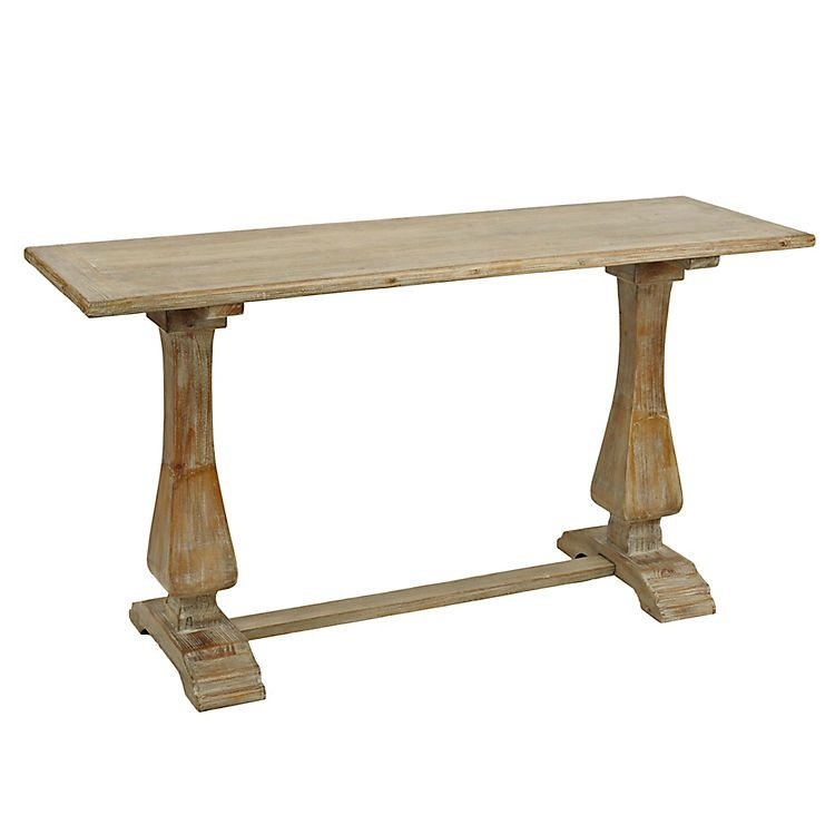 Distressed Natural Pedestal Console Table Wooden Console Wooden Console Table Wooden Trestle Table