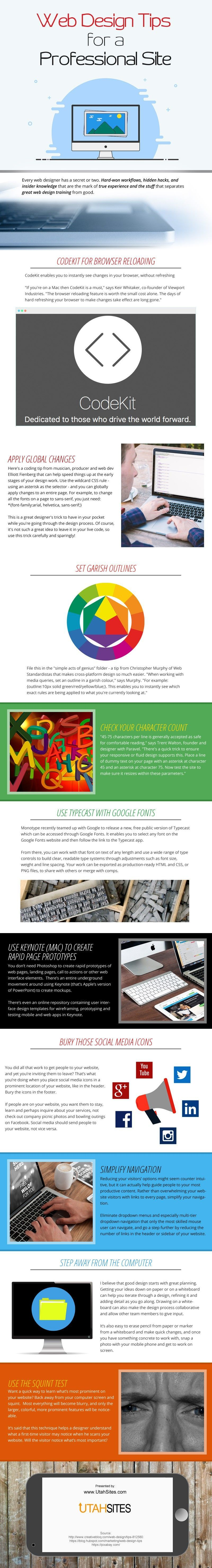 Web Design Tips For A Professional Site Infographic Web Design Tips Web Design Tools Web Design