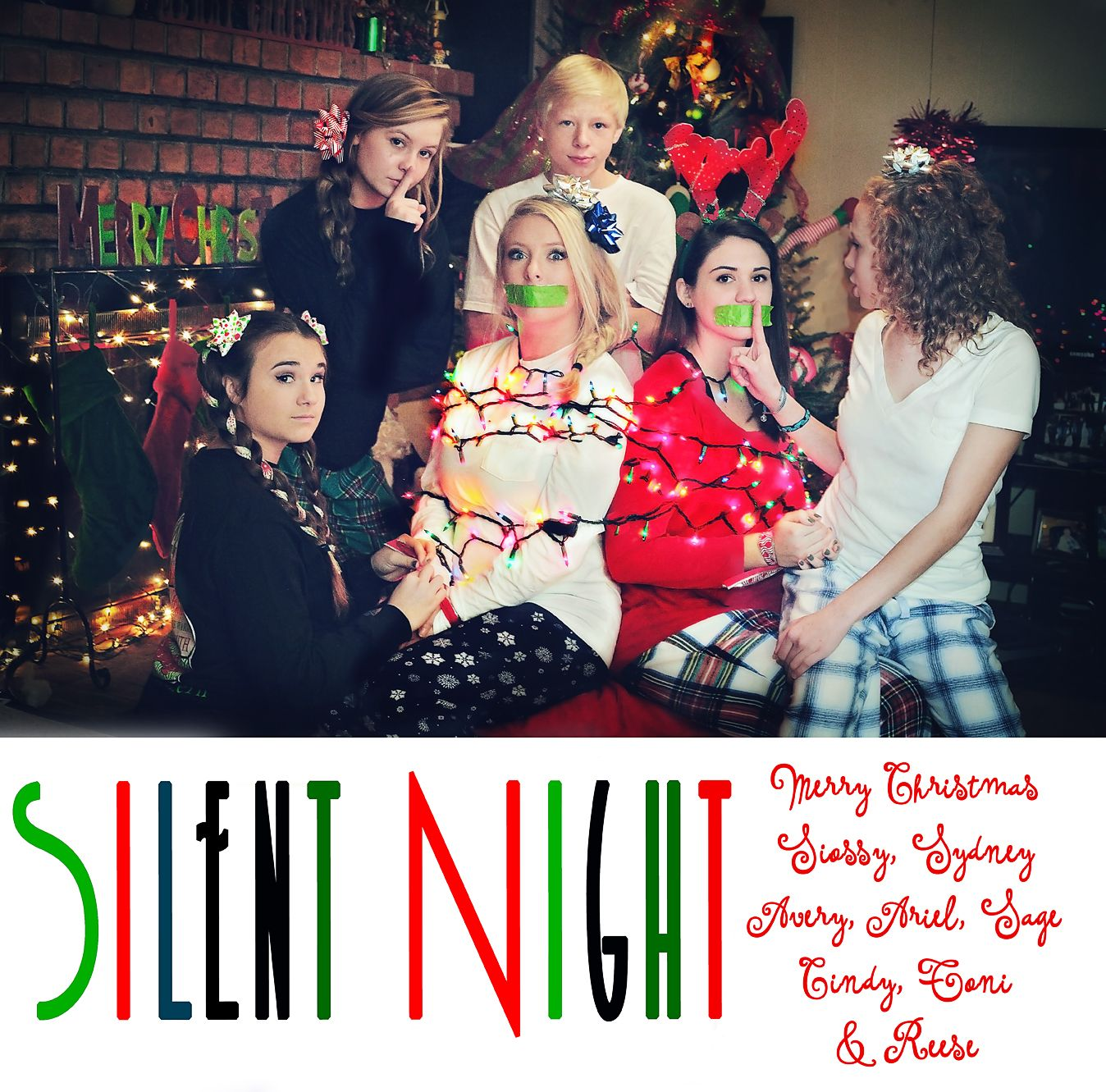 Fun Family Christmas card. Cynthiajillphoto.net Conyers GA Silent night  duck tape Naughty nice