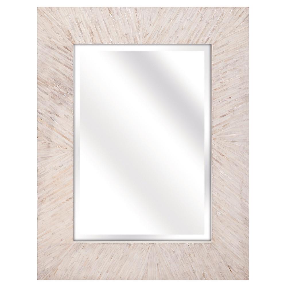 Rectangle Decorative Wall Mirror Beige - Aurora Lighting