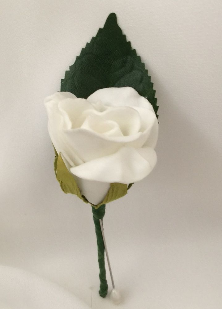Silk Wedding Flower Groom Onhole White Rose Pin Hole Flowers On Holes
