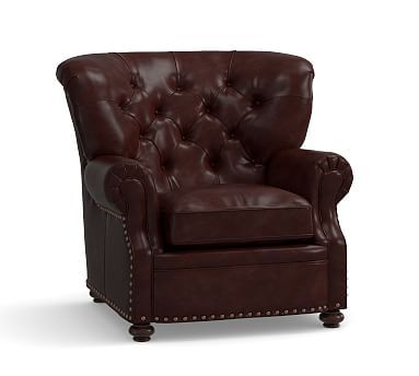 Lansing Leather Ottoman, Polyester Wrapped Cushions, Signature Espresso